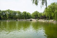 Asia China, Beijing, Longtan Lake Park, Summer landscape, Lake, stone bridge Royalty Free Stock Images