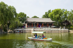 Asia China, Beijing, Longtan Lake Park, Summer landscape, Waterside Pavilion, cruise ship Royalty Free Stock Photo