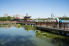 Asia China, Beijing, lotus pond park,Architecture and landscape, pavilion Gallery Stock Photo