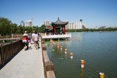 Asia China, Beijing, lotus pond park,Architecture and landscape, pavilion Gallery Stock Photos