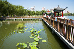 Asia China, Beijing, lotus pond park,Architecture and landscape, pavilion Gallery Stock Images