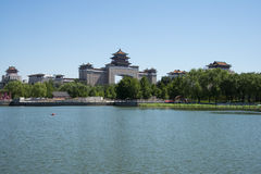 Asia China, Beijing, lotus pond park,Lakeview, Beijing West Railway Station. Asia China, Beijing, lotus pond park, blue sky and water, the distance of modern royalty free stock photography