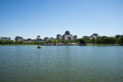 Asia China, Beijing, lotus pond park,Lakeview, Beijing West Railway Station. Asia China, Beijing, lotus pond park, blue sky and water, the distance of modern royalty free stock photo