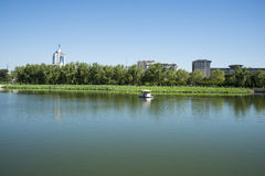 In Asia, China, Beijing, lotus pond park,Lakeview, modern architecture Stock Images