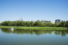 In Asia, China, Beijing, lotus pond park,Lakeview, modern architecture Royalty Free Stock Photography
