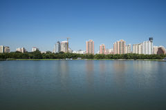 In Asia, China, Beijing, lotus pond park,Lakeview, modern architecture Stock Photo