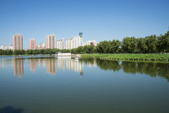 In Asia, China, Beijing, lotus pond park,Lakeview, modern architecture Stock Image