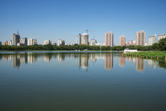 In Asia, China, Beijing, lotus pond park,Lakeview, modern architecture Royalty Free Stock Photos