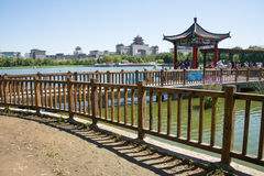 Asia China, Beijing, lotus pond park, Lakeview, Pavilion Gallery Royalty Free Stock Image