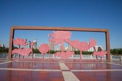 In Asia, China, Beijing, lotus pond park,Lotus theme landscape sculpture Royalty Free Stock Photos