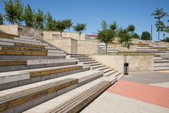 Asia China, Beijing, Metro Culture Park,Square bench seat Royalty Free Stock Photography