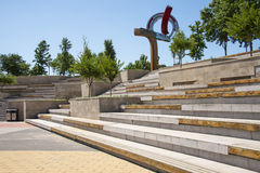 Asia China, Beijing, Metro Culture Park,Square bench seat Royalty Free Stock Image