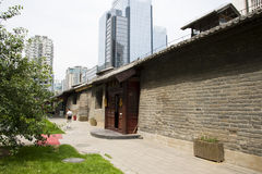 Asia China, Beijing, nanxincang cultural leisure Street,Modern tall buildings and ancient barn Stock Images