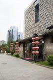 Asia China, Beijing, nanxincang cultural leisure Street,Modern tall buildings and ancient barn. Asia China, Beijing, nanxincang cultural leisure Street, modern stock image