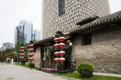 Asia China, Beijing, nanxincang cultural leisure Street,Modern tall buildings and ancient barn Royalty Free Stock Photography
