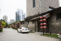 Asia China, Beijing, nanxincang cultural leisure Street,Modern tall buildings and ancient barn. Asia China, Beijing, nanxincang cultural leisure Street, modern royalty free stock images