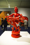 Asia China, Beijing, national museum, indoor exhibition hall,Carved lacquerware,Drum and dance Stock Photo