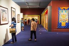 Asia China, Beijing, National Museum, indoor exhibition hall. Asia Chinese, Beijing, National Museum, indoor exhibition hall, 2016 Chinese Modern Art Biennale Royalty Free Stock Photos