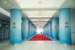 Asia China, Beijing, National Swimming Center, Indoor structure,Circular column Stock Image