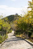 Asia China, Beijing, the north house, Forest Park,Garden scenery, road, the mountain on the double Pavilion Royalty Free Stock Photo