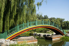 Asia China, Beijing, Old Summer Palace,Garden  landscape,The curved bridge. Asia China, Beijing, Old Summer Palace, Royal Garden, The antique building bridge Royalty Free Stock Photos
