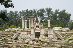Asia China, Beijing, Old Summer Palace, ruins, western building area,. European style garden architecture Stock Image