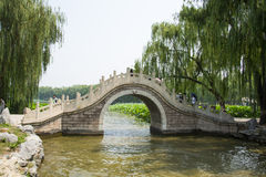 Asia China, Beijing, Old Summer Palace, stone arch bridge. Asia China, Beijing, Old Summer Palace, ruins park, royal garden, single hole stone arch bridge Royalty Free Stock Photography