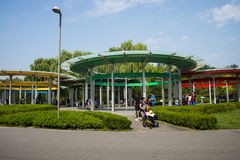 Asia China, Beijing, Olympic Forest Park, five rings Pavilion Royalty Free Stock Photo