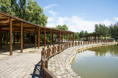 Asia China, Beijing, the Olympic Forest Park, Garden architecture, wooden pavilion Stock Photos