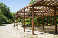 Asia China, Beijing, the Olympic Forest Park, Garden architecture, wooden pavilion Royalty Free Stock Photos