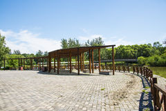 Asia China, Beijing, the Olympic Forest Park, Garden architecture, wooden pavilion Royalty Free Stock Image