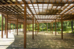 Asia China, Beijing, the Olympic Forest Park, Garden architecture, wooden pavilion Royalty Free Stock Images