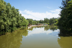 Asia China, Beijing, the Olympic Forest Park, Garden architecture, wooden pavilion Stock Images