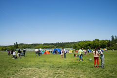 Asia China, Beijing, Olympic Forest Park, grassland, leisure camping Royalty Free Stock Image