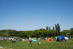 Asia China, Beijing, Olympic Forest Park, grassland, leisure camping Stock Photography