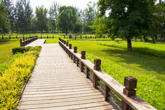 Asia China, Beijing, Olympic Forest Park, landscape architecture,Wooden trail Royalty Free Stock Image