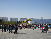 In Asia, China, Beijing, Olympic Park, France large machinery dragon horse� parade performances, Stock Photo
