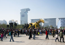 In Asia, China, Beijing, Olympic Park, France large machinery dragon horse� parade performances, Royalty Free Stock Photo