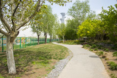 Asia China, Beijing, Olympic Park, garden landscape architecture Stock Photo