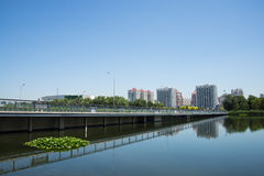 Asia China, Beijing, Olympic Park, lakeview, Royalty Free Stock Images