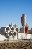 Asia China, Beijing, Olympic Park, Olympic rings, torch. Asia China, Beijing, Olympic Park, urban landscape architecture, Olympic rings, torch Royalty Free Stock Photo