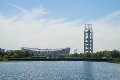 Asia China, Beijing, Olympic Park, summer landscape,lake, the National Stadium, linglongta Stock Photo