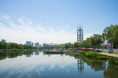 Asia China, Beijing, Olympic Park, summer landscape,lake, the National Stadium, linglongta Royalty Free Stock Images