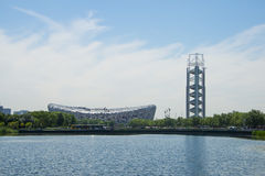 Asia China, Beijing, Olympic Park, summer landscape,lake, the National Stadium, linglongta Stock Photo