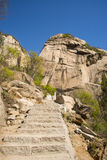 Asia China, Beijing, Phoenix Valley natural scenic spot, spring landscape,Climbing steps Stock Photos