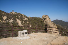 Asia China, Beijing, Phoenix Valley natural scenic spot, spring landscape,The observation deck, wooden railings Stock Photos