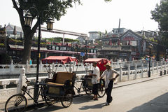 Asia, China, Beijing, Shichahai, Hutong tour, tricycle, rickshaw Stock Photo