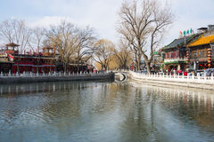 Asia China, Beijing, Shichahai scenery,Lake, stone railings, stone bridge Royalty Free Stock Images