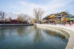 Asia China, Beijing, Shichahai scenery,Lake, stone railings, stone bridge Royalty Free Stock Photo