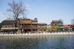 Asia China, Beijing, Shichahai scenery,Lake, stone railings Stock Photo